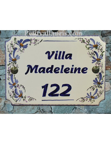 Plaque de maison émaillée de style décor Fleurs Bleues