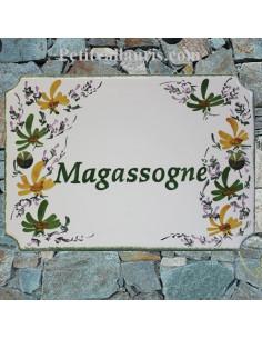 Plaque de maison émaillée de style en céramique Fleurs vertes et oranges
