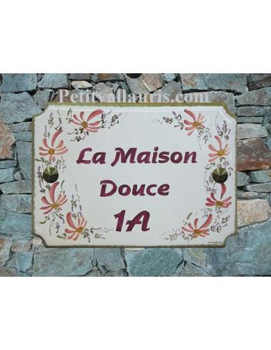 Plaque de maison émaillée de style en céramique Fleurs roses texte rose