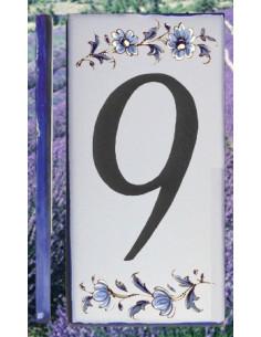 Numero de rue chiffre 9 décor tradition vieux moustiers bleu