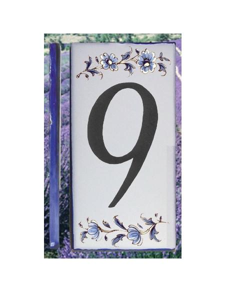 Numero de rue à coller en faience chiffre 9 motif fleurs tradition bleu