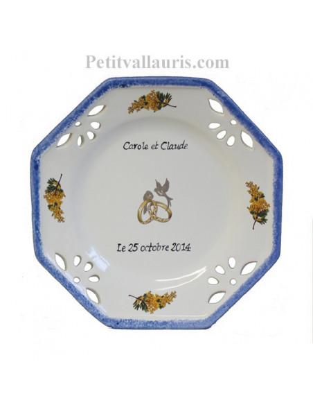Assiette cadeau souvenir Mariage modèle octogonale + personnalisation motif mimosas