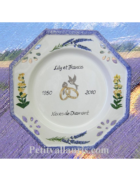 Assiette de Mariage octogonale décor brins de lavandes et brins de gentianes