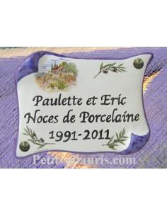 Plaque parchemin en faience bord bleu avec inscription personnalisée