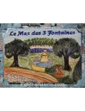 Plaque pour maison en céramique décor Fontaine de Pergola