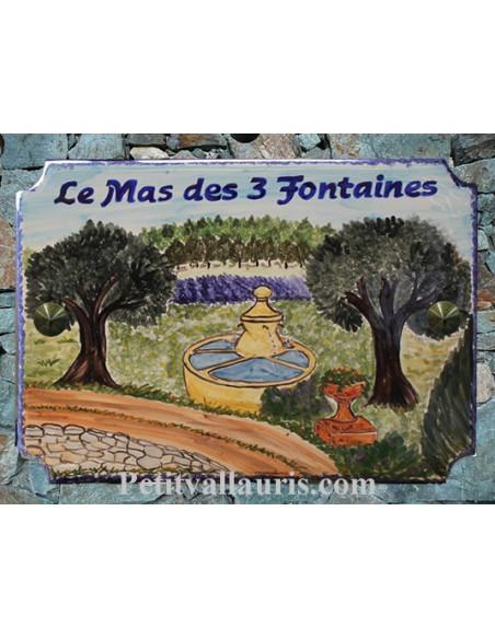 Grande plaque de maison en céramique modèle aux angles incurvés motif Fontaine + paysage de provence + personnalisation
