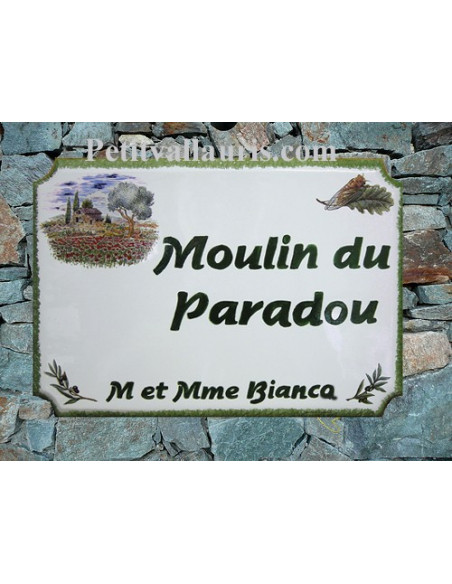 Grande plaque de maison en céramique modèle aux angles incurvés motif Cabanon Oliviers et Coquelicot + personnalisation