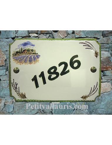 Plaque pour maison en céramique décor Bastide et Champs de lavande