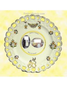 Assiette de Mariage modèle Tournesol avec 2 photos encadrement filet jaune décor tradition vieux moustiers