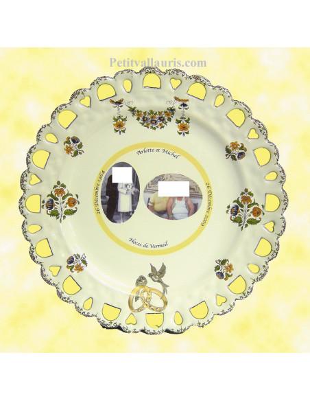 Assiette de mariage en céramique modèle tournesol avec 2 photos personnalisée