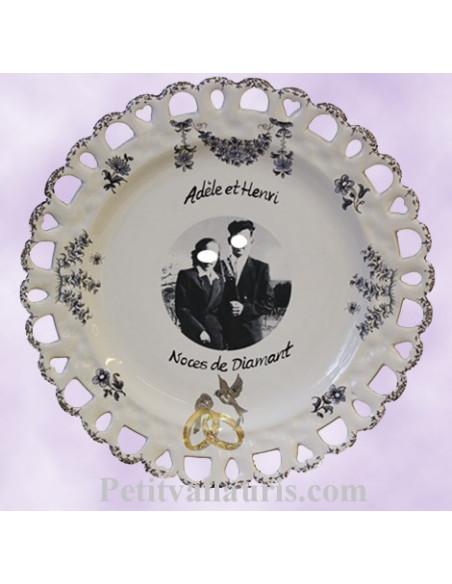 Assiette de Mariage en céramique modèle Tournesol avec photo décor tradition vieux moustiers bleu