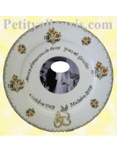 Assiette de Mariage porcelaine avec photo décor tradition vieux moustiers