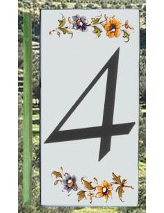 Numéro de Rue et Maison chiffre 4 décor tradition Moustiers