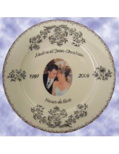 Assiette porcelaine avec photo décor tradition vieux moustiers bleu