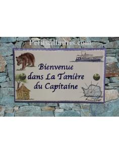 Plaque de maison en céramique décor Ours Bateau et Case Antarctique