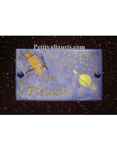 Plaque de maison en céramique décor Galaxie, Saturne et Chouette