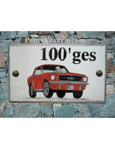 Plaque de maison en céramique décor Ford Mustang