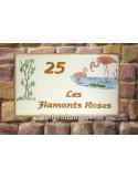 Plaque pour maison en céramique émaillée décor Flamant rose