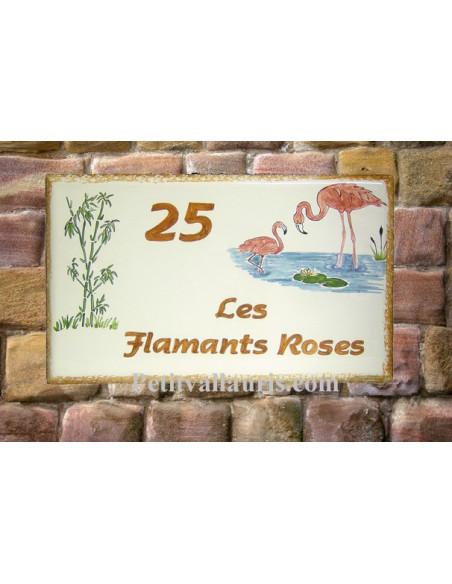 Grande plaque rectangulaire pour maison en céramique émaillée motif artisanal Flamants roses + personnalisation