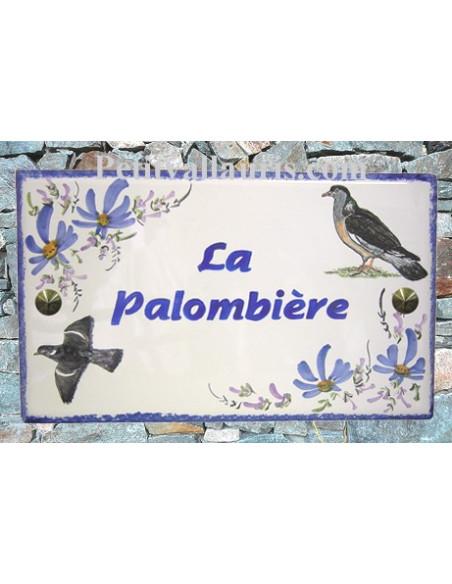 Plaque personnalisée rectangle pour maison en céramique émaillée motif les Palombes