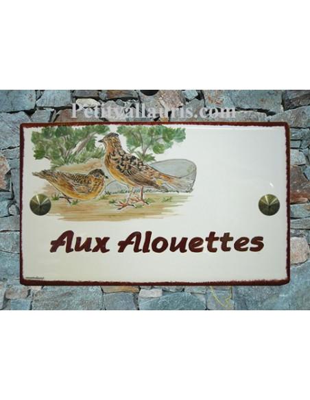 Plaque en céramique émaillée forme rectangle décor artisanal les Allouettes avec inscription personnalisée