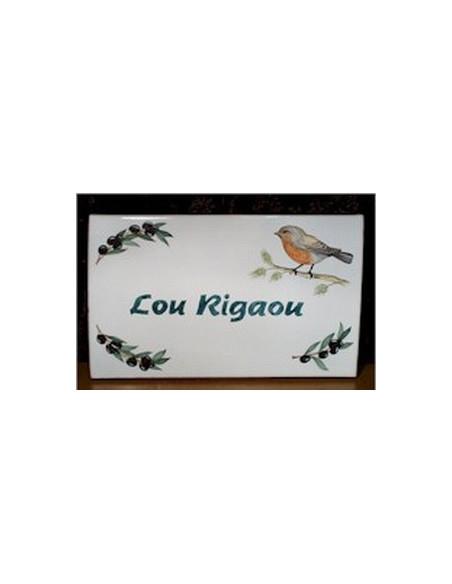 Plaque en céramique émaillée forme rectangle décor artisanal oiseau Rouge Gorge et olives + personnalisation
