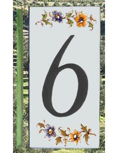 Numero de rue à coller en faience chiffre 6 motif fleurs tradition polychrome