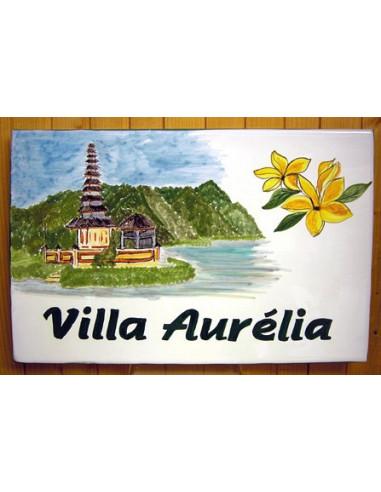 Plaque de maison en céramique décor Temple de Bali