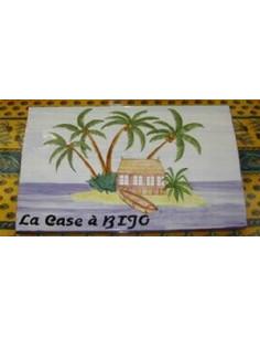 Plaque de maison en céramique décor Exotique Ilots et Palmiers