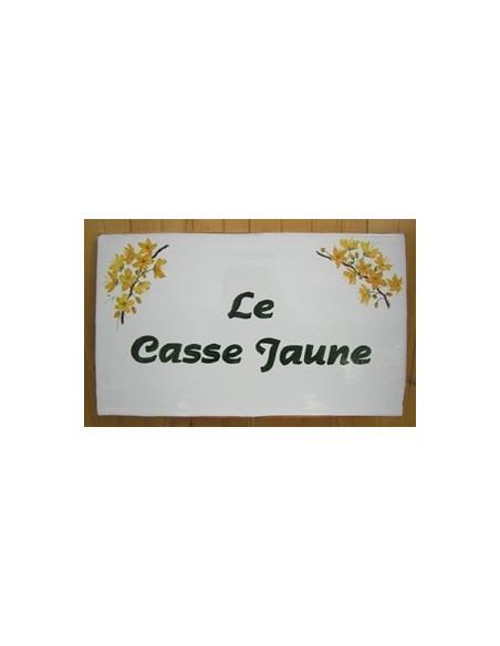 Plaque rectangulaire pour maison en céramique émaillée motif artisanal fleurs arbre tropical Casse jaune + personnalisation