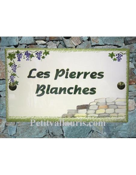 Plaque rectangulaire pour maison en céramique émaillée motif artisanal Frise grappes de raisin + personnalisation