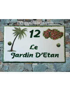 Plaque pour maison en faïence décor Palmier et Bougainvillier