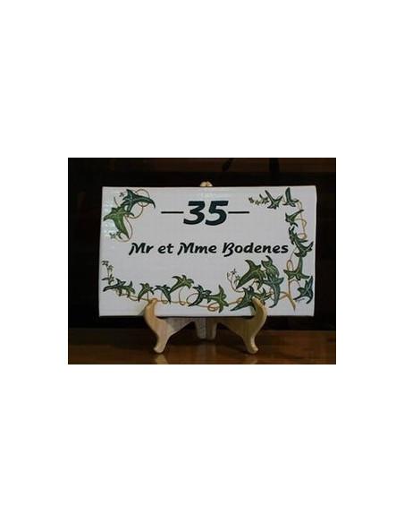 Plaque rectangulaire pour maison en céramique émaillée décor motif artisanal les Lierres + personnalisation