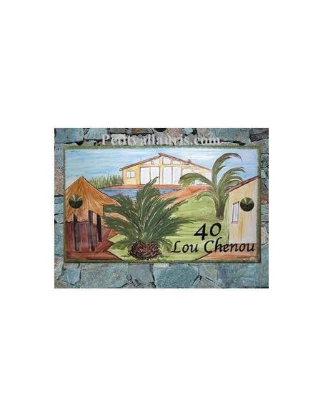 Plaque en céramique émaillée forme rectangle décor artisanal maison de client varois