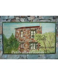 Plaque de maison en céramique décor Villa L'Espérance