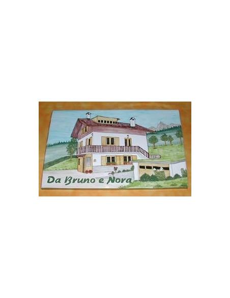 Plaque en céramique émaillée forme rectangle décor artisanal Chalet de Montagne + personnalisation