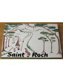 Plaque de maison forme rectangle décor Saint Roch