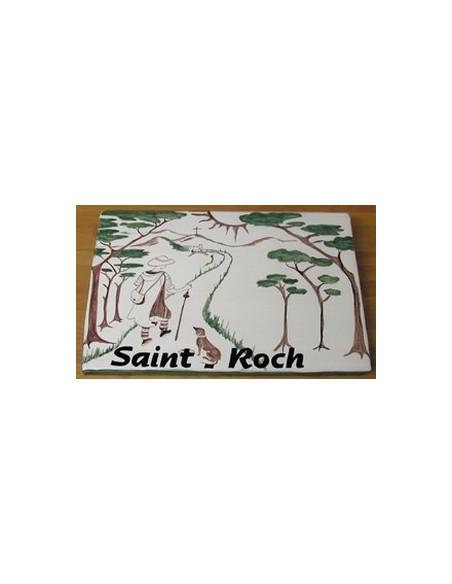 Grande plaque en céramique émaillée forme rectangle motif artisanal décor Saint Roch + personnalisation