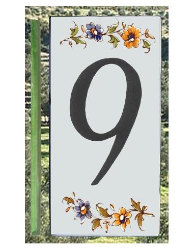 Numéro de Rue et Maison chiffre 9 décor tradition Moustiers