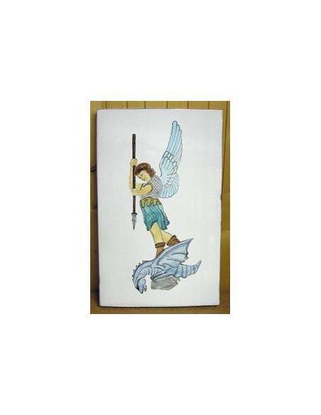 Grande plaque en céramique émaillée forme rectangle motif artisanal Saint Michel