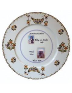 Assiette de Mariage porcelaine avec 2 photos décor tradition vieux moustiers