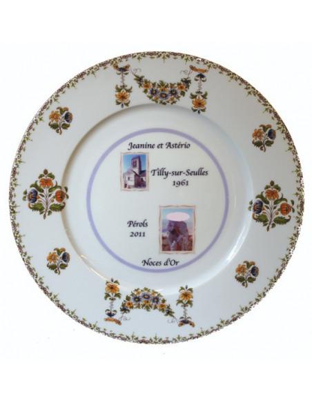 Assiette de mariage en porcelaine avec 2 photos et personnalisation décor fleurs polychrome