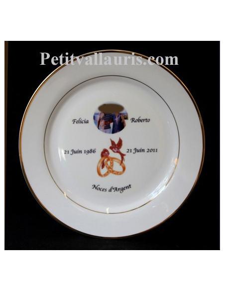 Assiette porcelaine personnalisée filet or avec photos et alliances