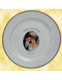 Assiette porcelaine personnalisée filet or avec photo