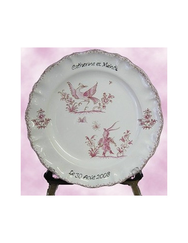 Assiette plate modèle louis xv avec inscription personnalisée