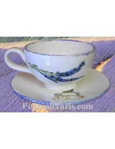 Tasse à thé décor et inscription personnalisée décor brins de lavandes