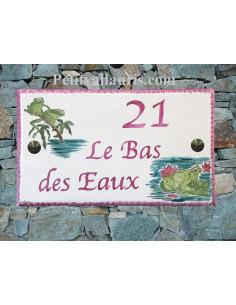 Plaque de maison en céramique décor Grenouille Rainette