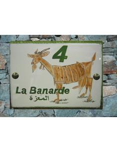 Plaque de maison en céramique décor Chèvre