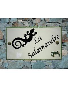 Plaque de maison en céramique décor Salamandre
