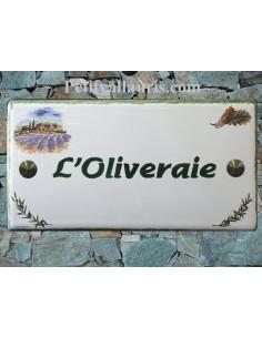 Plaque pour maison en céramique Champ de Lavande et Brin d'Olives